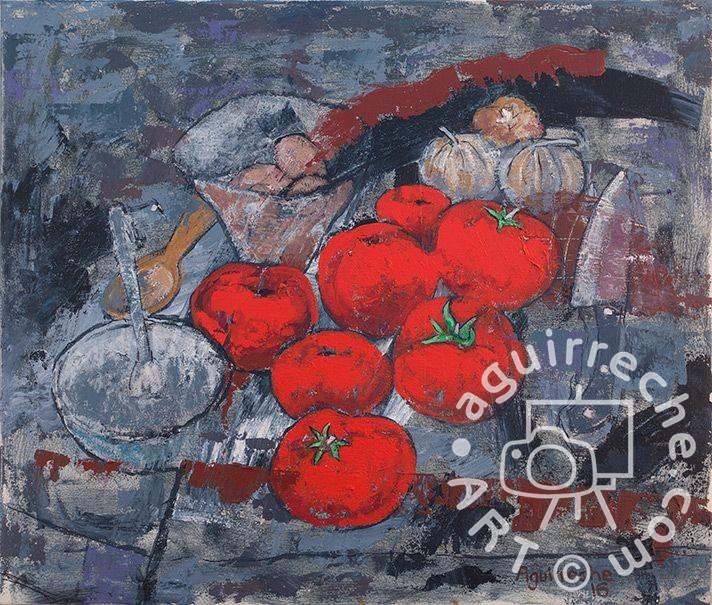 Pintura bodegón de tomates