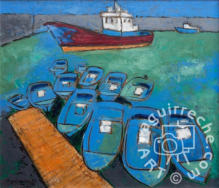 Pintura paisaje Puerto de Hondarribia